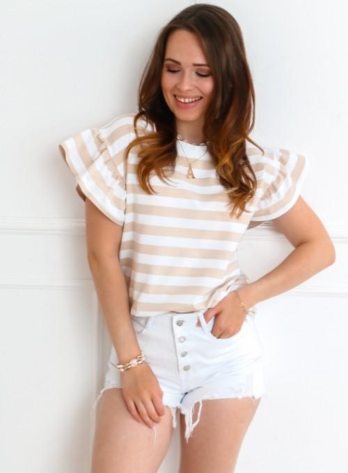 T-shirt Calypso beżowo-biały 3