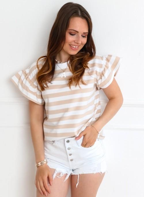 T-shirt Calypso beżowo-biały 1