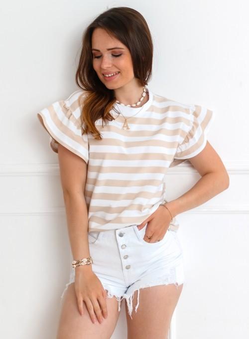 T-shirt Calypso beżowo-biały 5