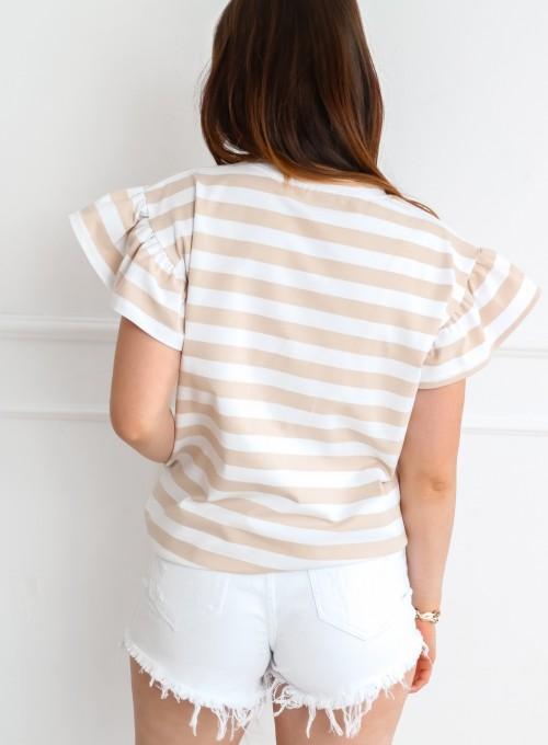 T-shirt Calypso beżowo-biały 2