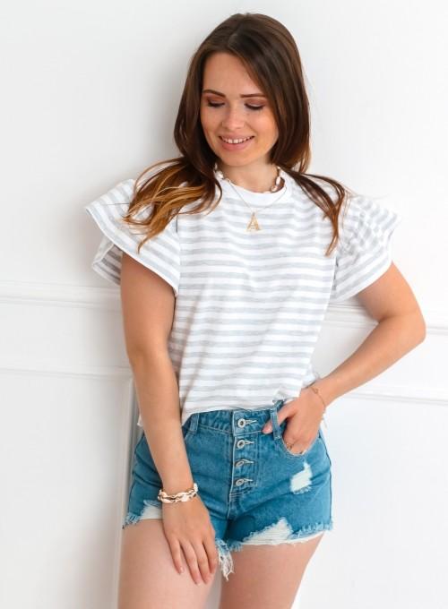 T-shirt Calypso szaro-biały