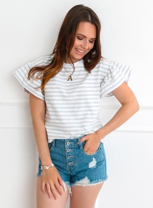 T-shirt Calypso szaro-biały 3