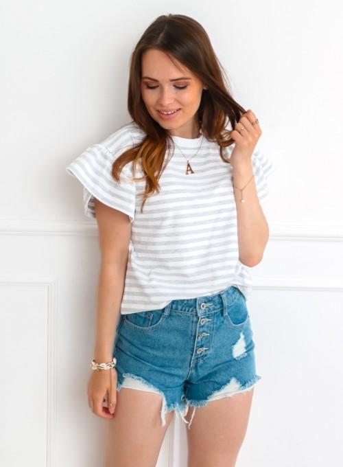 T-shirt Calypso szaro-biały 4