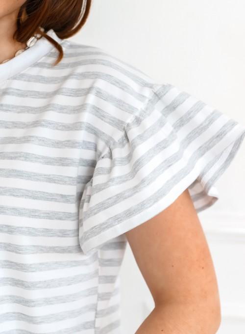 T-shirt Calypso szaro-biały 1