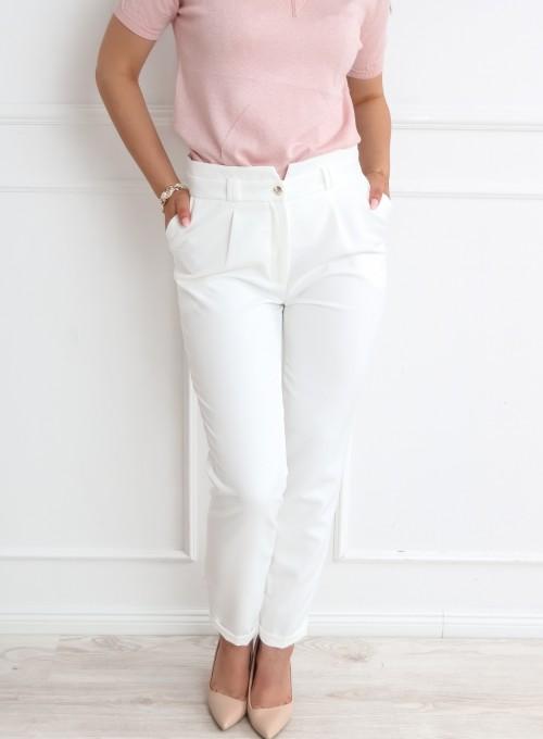 Eleganckie spodnie Krisi śmietankowe