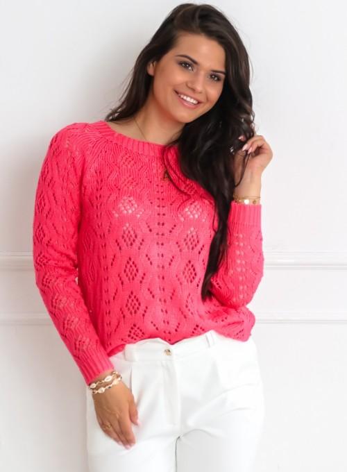 Sweter ażurkowy dwustronny malinowy