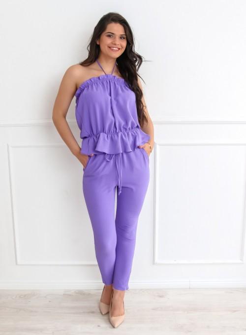 Fioletowy komplet bluzka ze spodniami 2