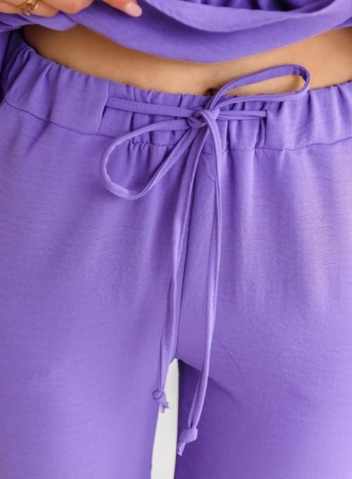 Fioletowy komplet bluzka ze spodniami 7
