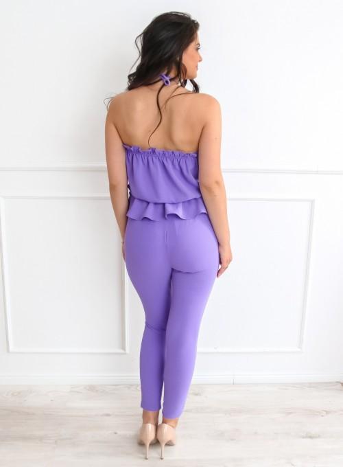 Fioletowy komplet bluzka ze spodniami 4
