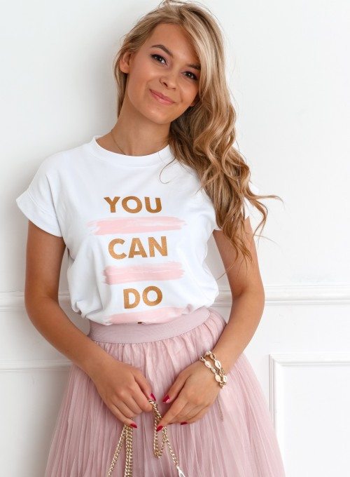 T-shirt You Can Do It biały