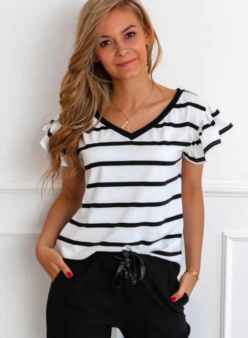 T-shirt Ritz biało czarny