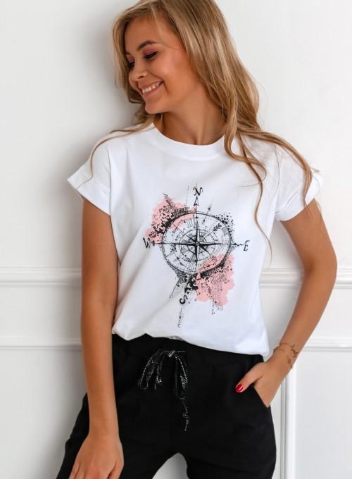 T-shirt Compas biały