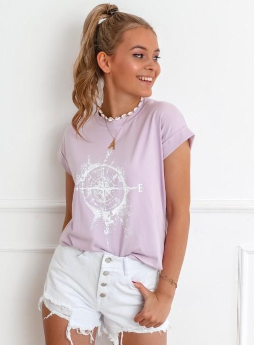 T-shirt Compas liliowy