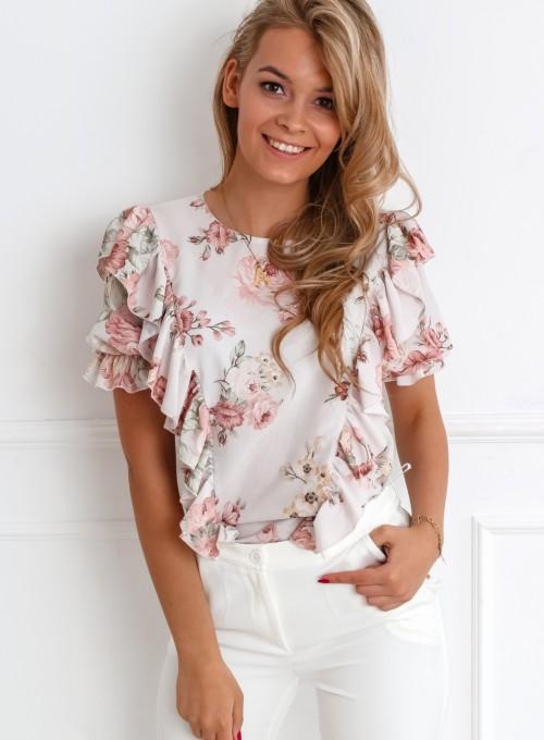 Bluzka Menfi beżowa w kwiatki