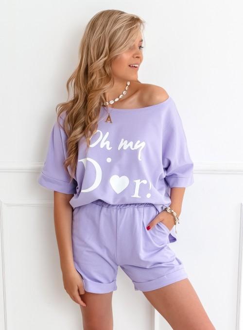 Komplet bluza z szortami liliowy