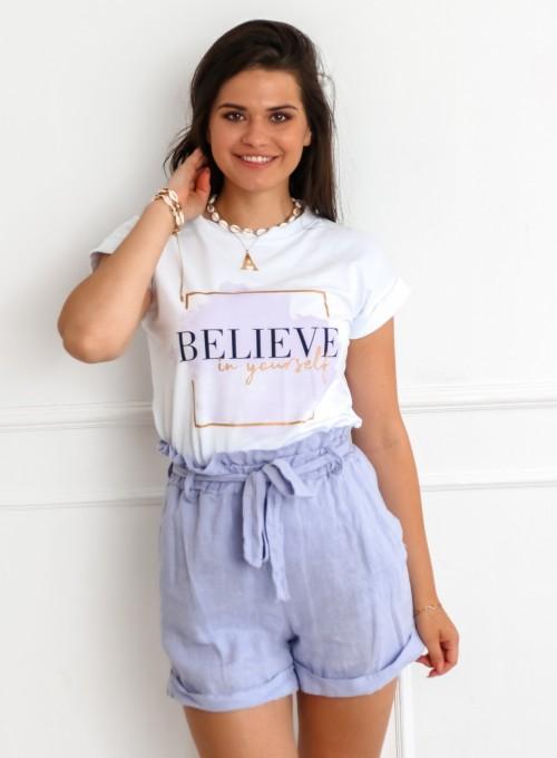 T-shirt Believe biały