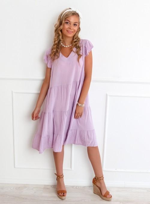 Sukienka Pati liliowa w groszki 2