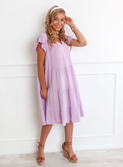 Sukienka Pati liliowa w groszki 3
