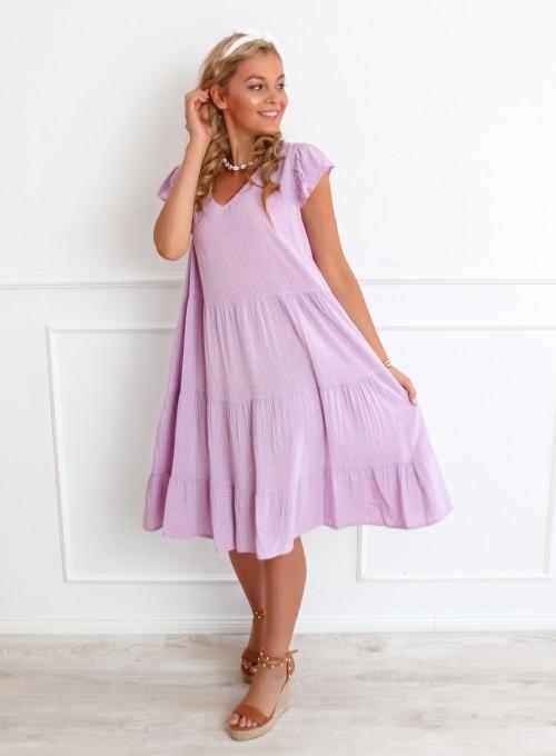 Sukienka Pati liliowa w groszki 4