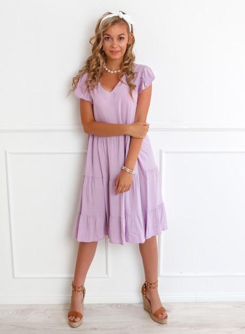 Sukienka Pati liliowa w groszki 5