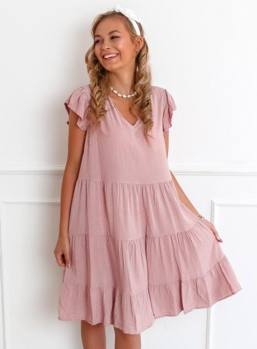 Sukienka Pati pudrowa w groszki