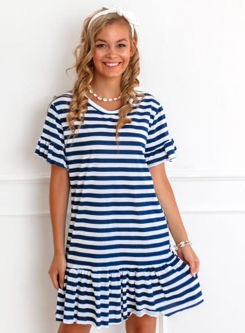 Sukienka Stripes biało-granatowa