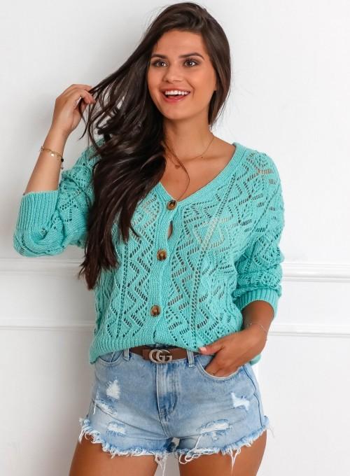 Sweter ażurowy Allis miętowy