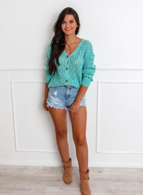 Sweter ażurowy Allis miętowy 1