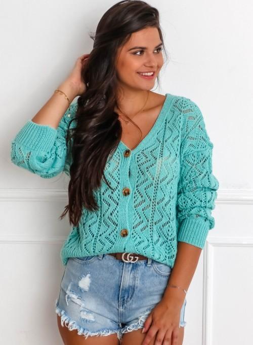 Sweter ażurowy Allis miętowy 3