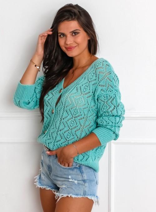 Sweter ażurowy Allis miętowy 4