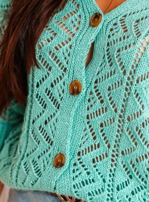 Sweter ażurowy Allis miętowy 2