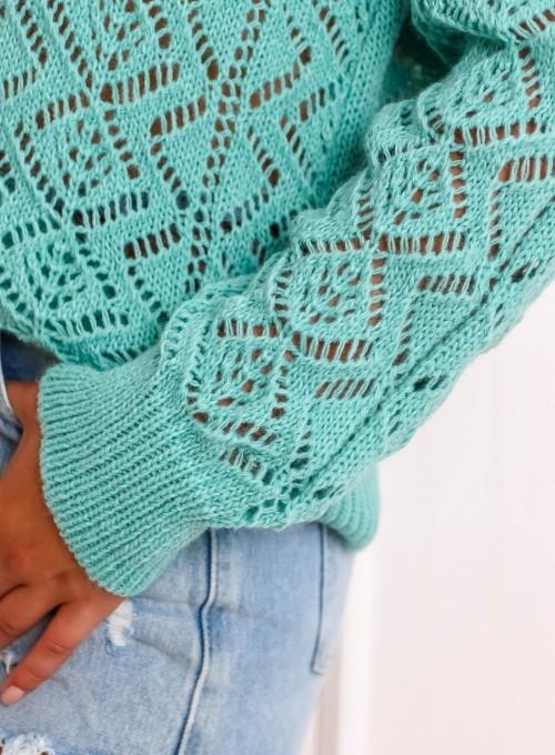 Sweter ażurowy Allis miętowy 5