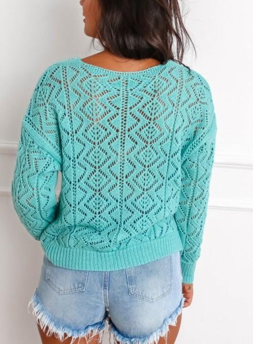 Sweter ażurowy Allis miętowy 6