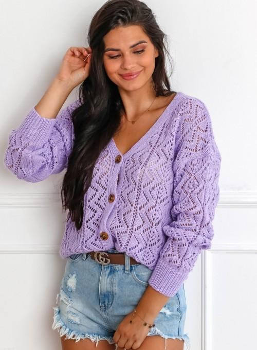 Sweter ażurowy Allis lila