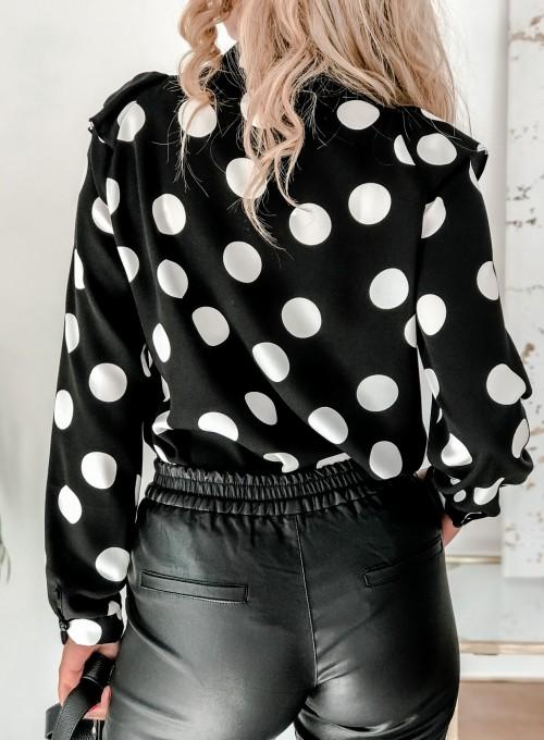 Bluzka Flora czarna w białe grochy 5