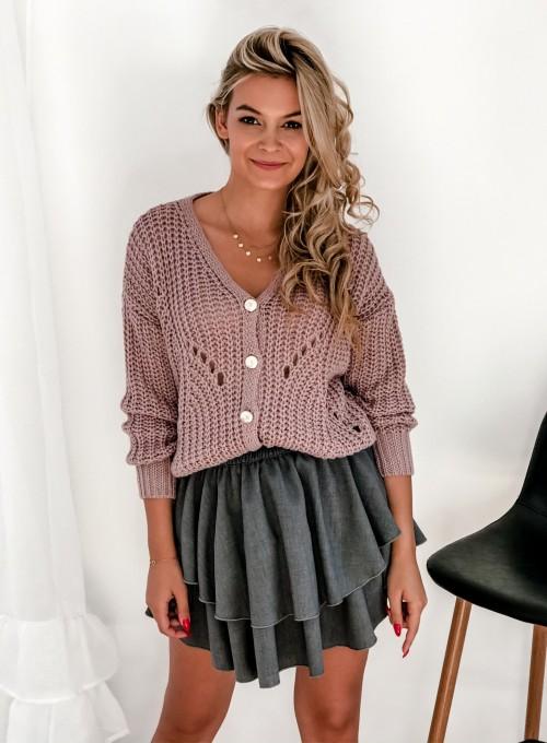 Rozpinany sweter Elen brudny róż 1