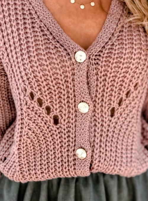 Rozpinany sweter Elen brudny róż 2