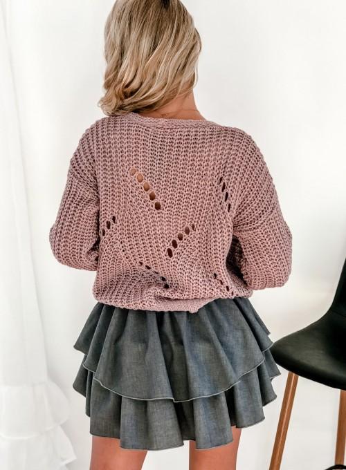 Rozpinany sweter Elen brudny róż 6