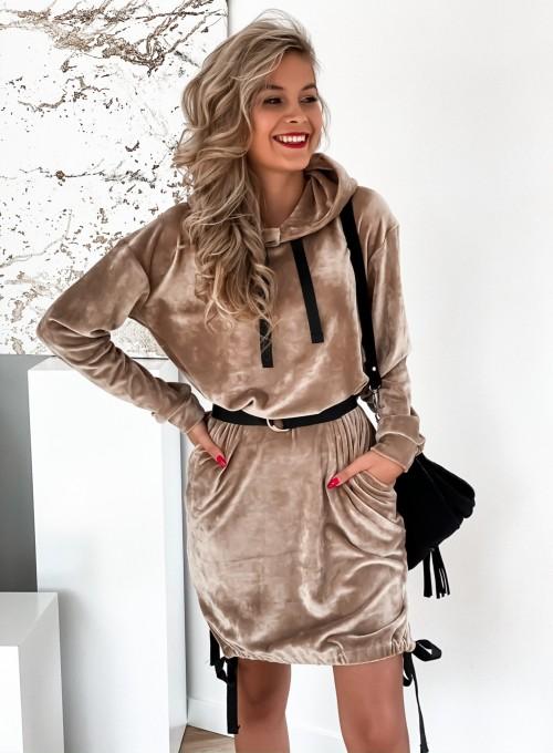 Sukienka welurowa Scali beżowa 2
