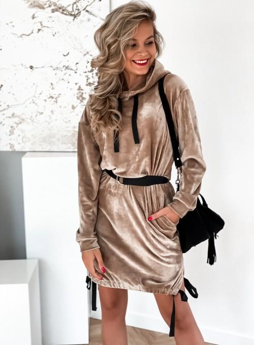 Sukienka welurowa Scali beżowa 3
