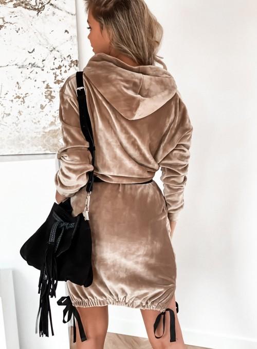 Sukienka welurowa Scali beżowa 6