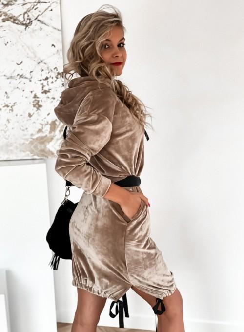 Sukienka welurowa Scali beżowa 1