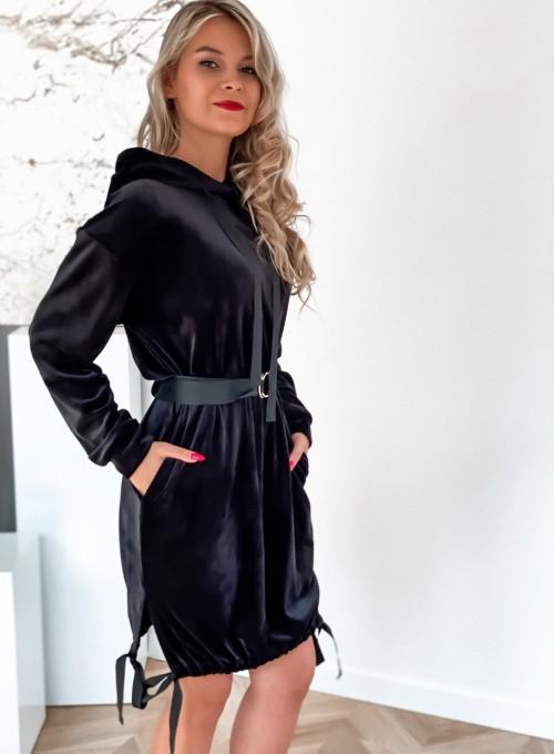 Sukienka welurowa Scali czarna 1
