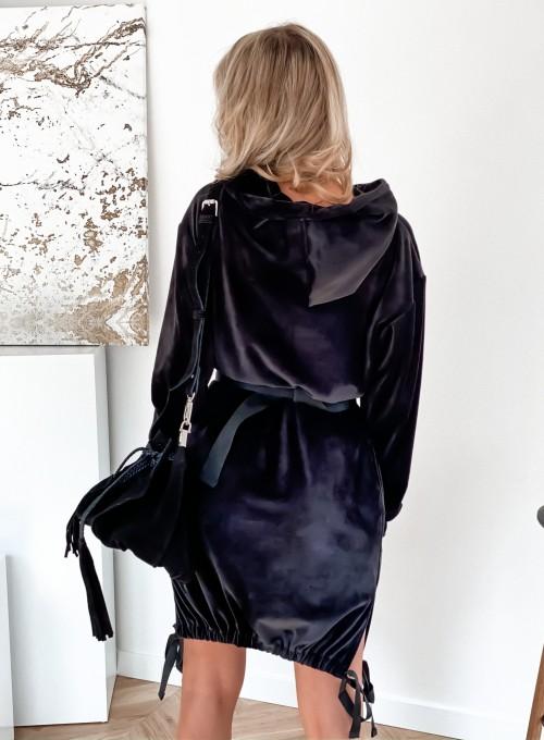 Sukienka welurowa Scali czarna 4