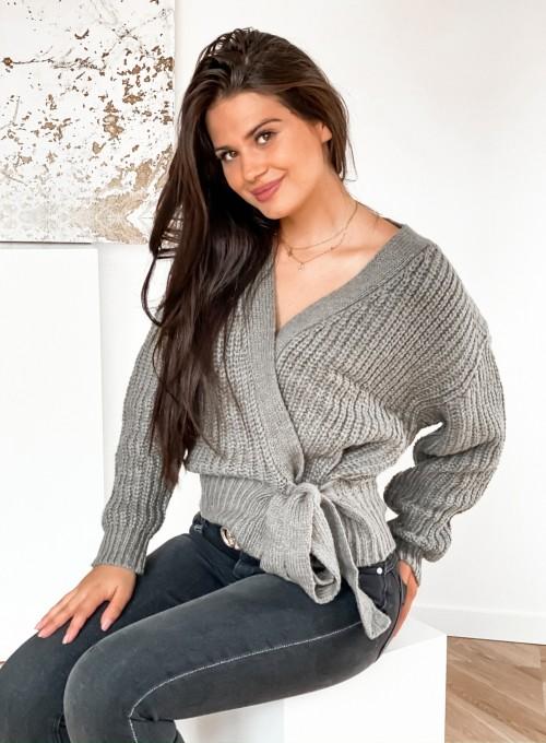 Wiązany sweter typu kardigan w kolorze khaki