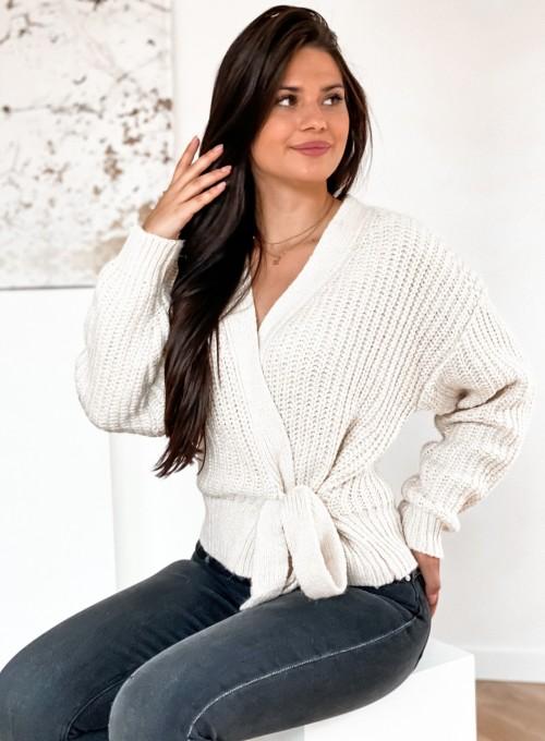 Wiązany sweter typu kardigan w kolorze kremowym