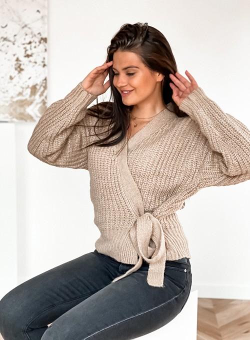 Wiązany sweter typu kardigan w kolorze beżowym