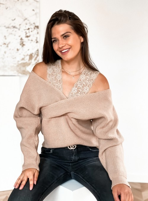 Sweter Pandi ciemny beż