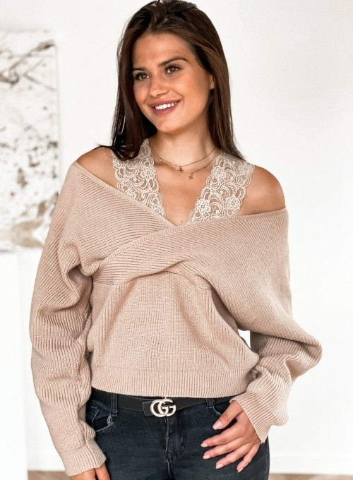 Sweter Pandi ciemny beż 1