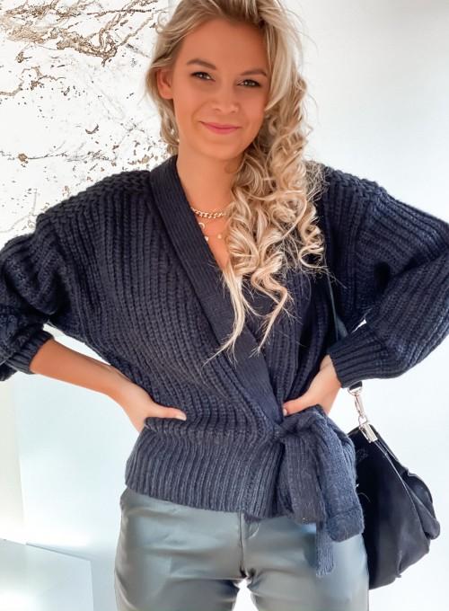 Wiązany sweter typu kardigan w kolorze czarnym 1